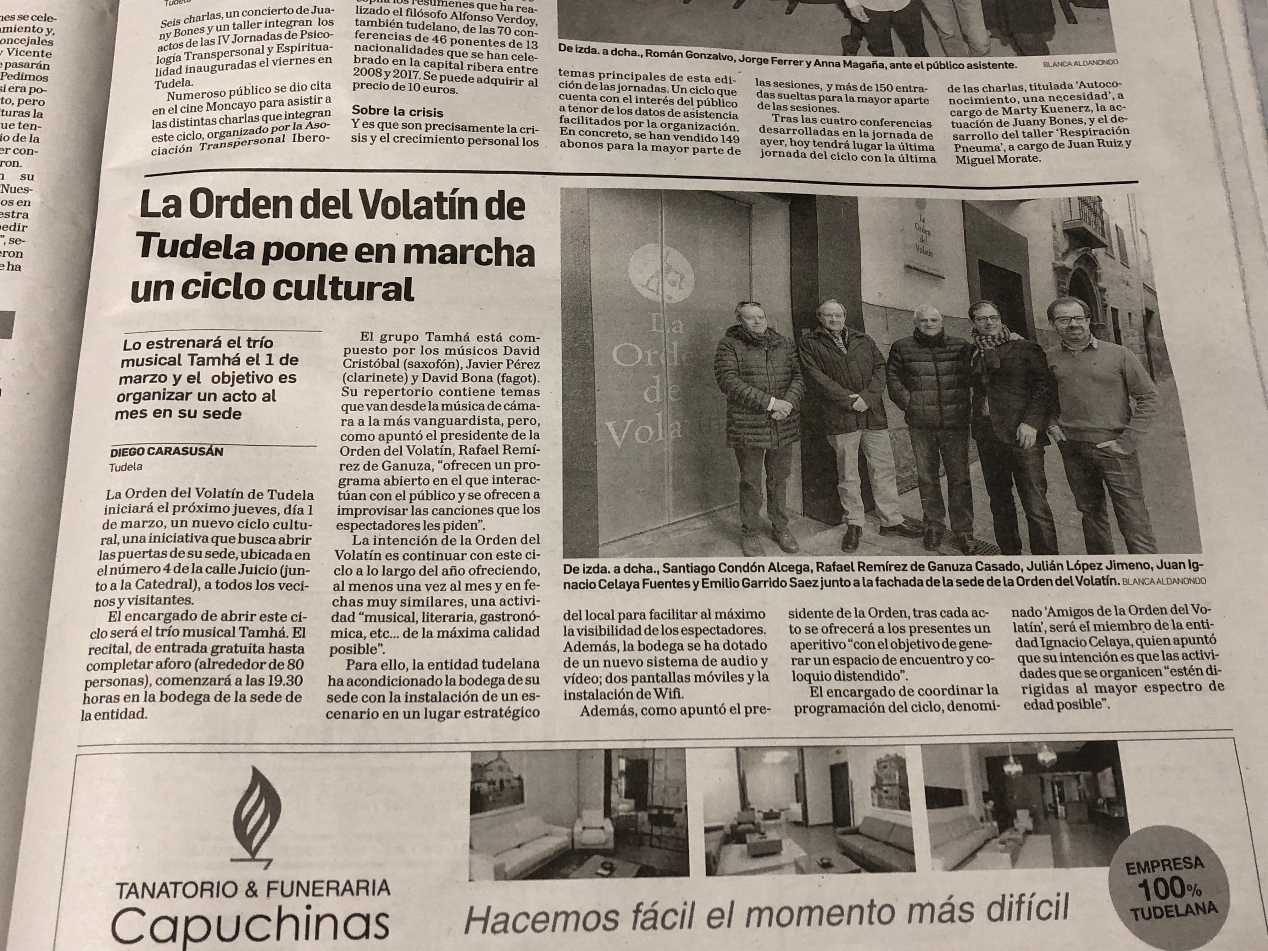 """Ciclo cultural """"Amigos de la Orden del Volatín"""""""