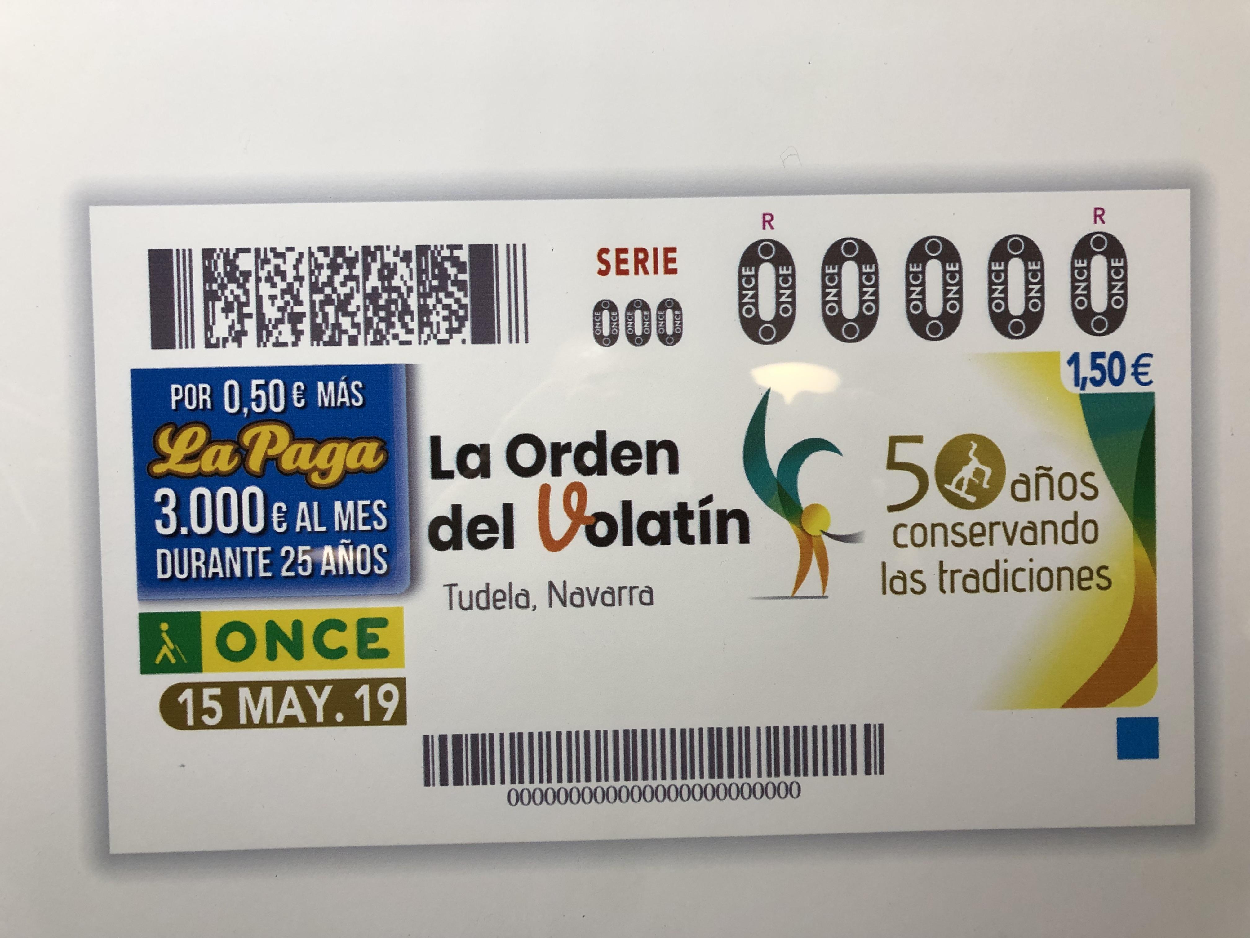 La Orden del Volatín de Tudela celebra su 50 aniversario en el cupón de la ONCE, correspondiente al 15 de Mayo